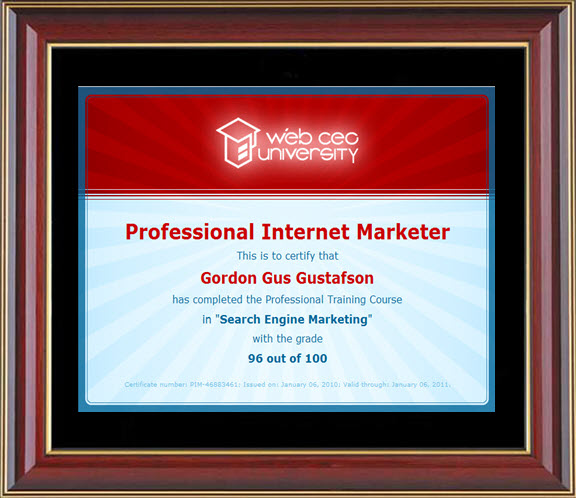 Gordon Gus SEM Internet Marketer Certification